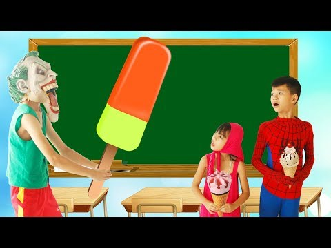 Spiderman Plant tree Superman Learn Color ICE CREAM w/ Joker paint Candy Bag Big School Color