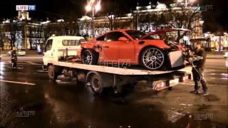 Crash Porsche 911 Turbo S in Saint-Petersburg