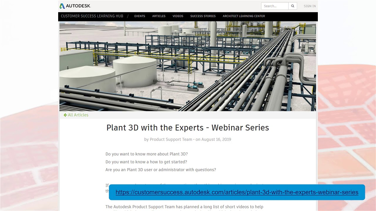 Plant 3D with the Experts (video blog series): Introduction about the Series | AutoCAD