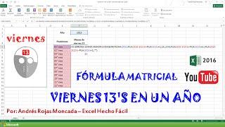 viernes 13's en un año - fórmula matricial