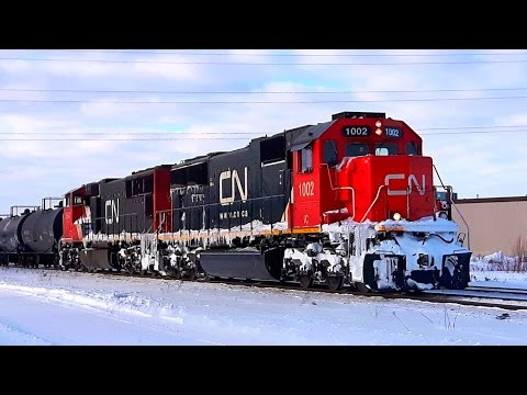 New Year's Day Railfanning 2017 - Freight Trains on the CN Rivers Subdivision, Including SD70 Leader