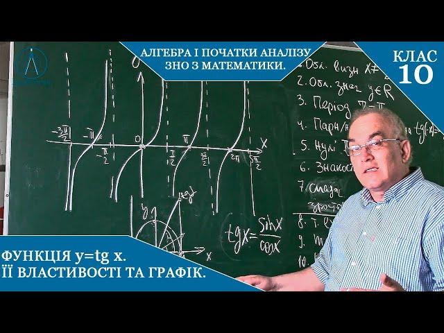 10 клас. Алгебра. Функція y=tgx. Її властивості та графік.