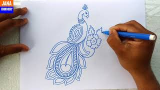 How to Draw Peacock with Beautiful Feather Design   Colour Pen Art