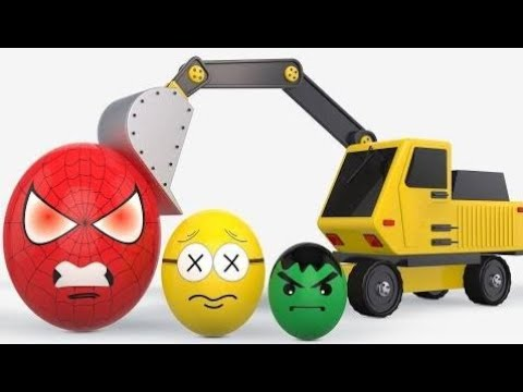 Learn Colors With Superheroes Eggs😍Bashing Excavator For Children Toddlers|Collection BinBin Colors