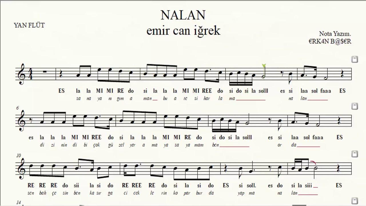 NALAN emircan iğrek YAN FLÜT notaları EŞLİKLİ
