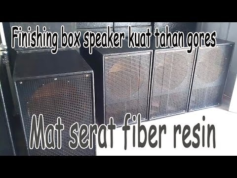 Proses finishing box speaker lapisan fiber di bengkel aanksound