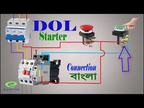 DOL Starter connection | DOL Starter control circuit ...