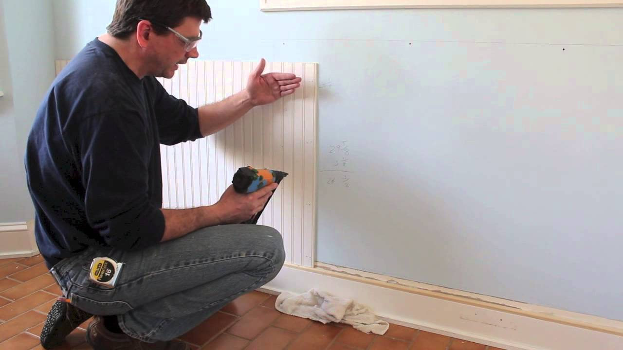 how to design and install chair rail bead board wainscoting youtube. Black Bedroom Furniture Sets. Home Design Ideas
