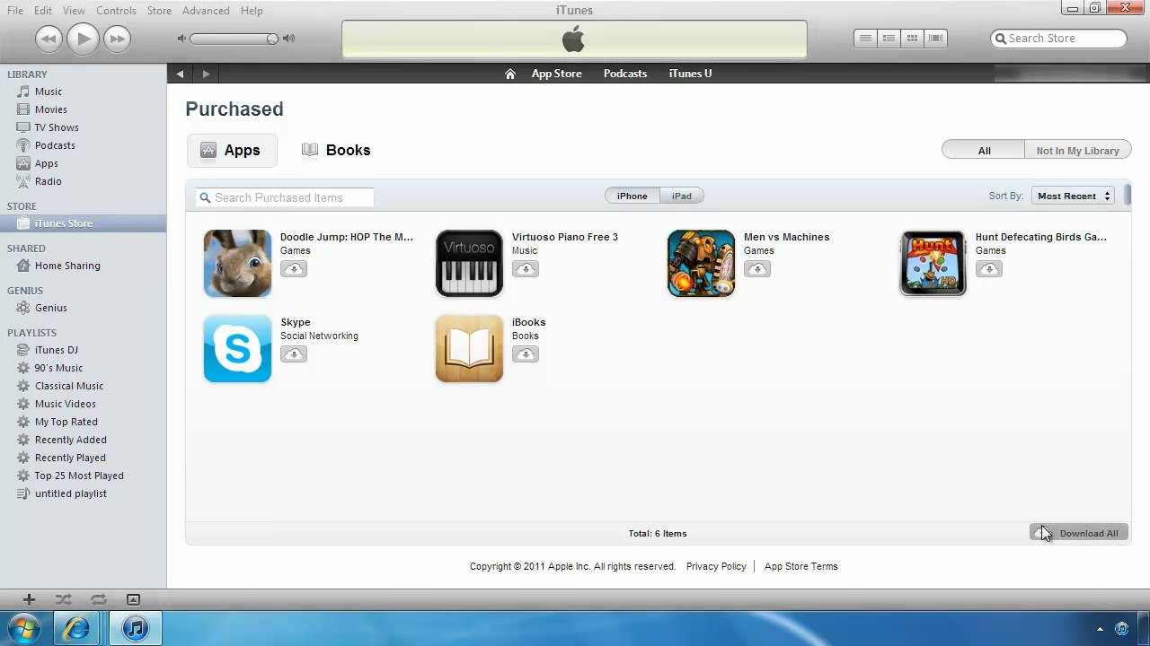 Download again purchased Apps from iTunes on Computer