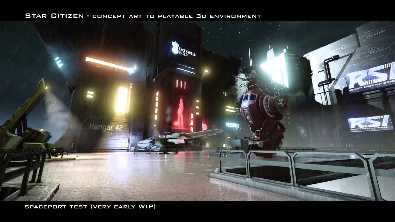 3d Red Star Live Wallpaper Star Citizen Early Spaceport Concept Art To 3d