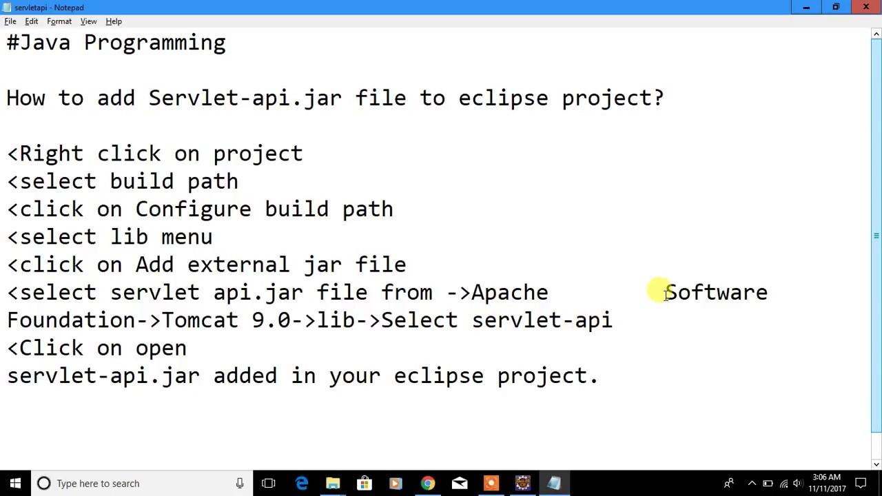 add Servlet-api jar file to eclipse project