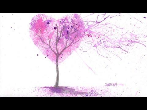 EASY Acrylic Watercolor Splatter Art The Cherry Blossom LOVE Tree
