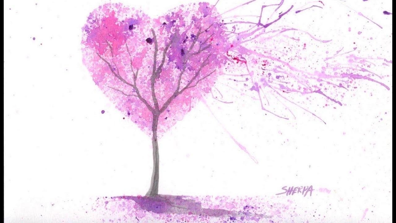Easy Acrylic Watercolor Splatter Art The Cherry Blossom