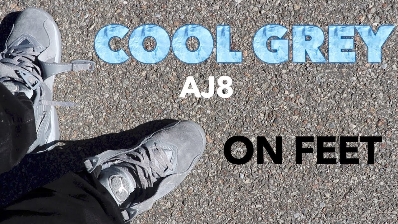 ce3adedabeb AIR JORDAN 8 COOL GREY ON FEET Review - YouTube