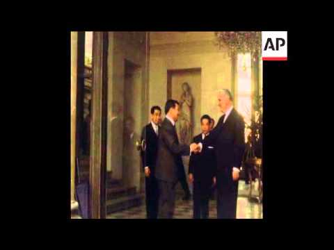 SYND 10/3/70 CAMBODIAN CHIEF OF STATE PRINCE SIHANOUK MEETS FRENCH PRESIDENT POMPIDOU AT THE ELYSEE