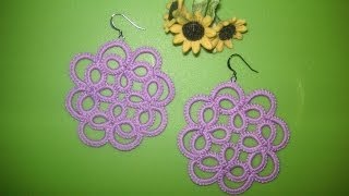 23' TUTORIAL ORECCHINI CIONDOLO FIORE CHIACCHIERINO AD AGO EARRINGS FLOWER NEEDLE TATTING