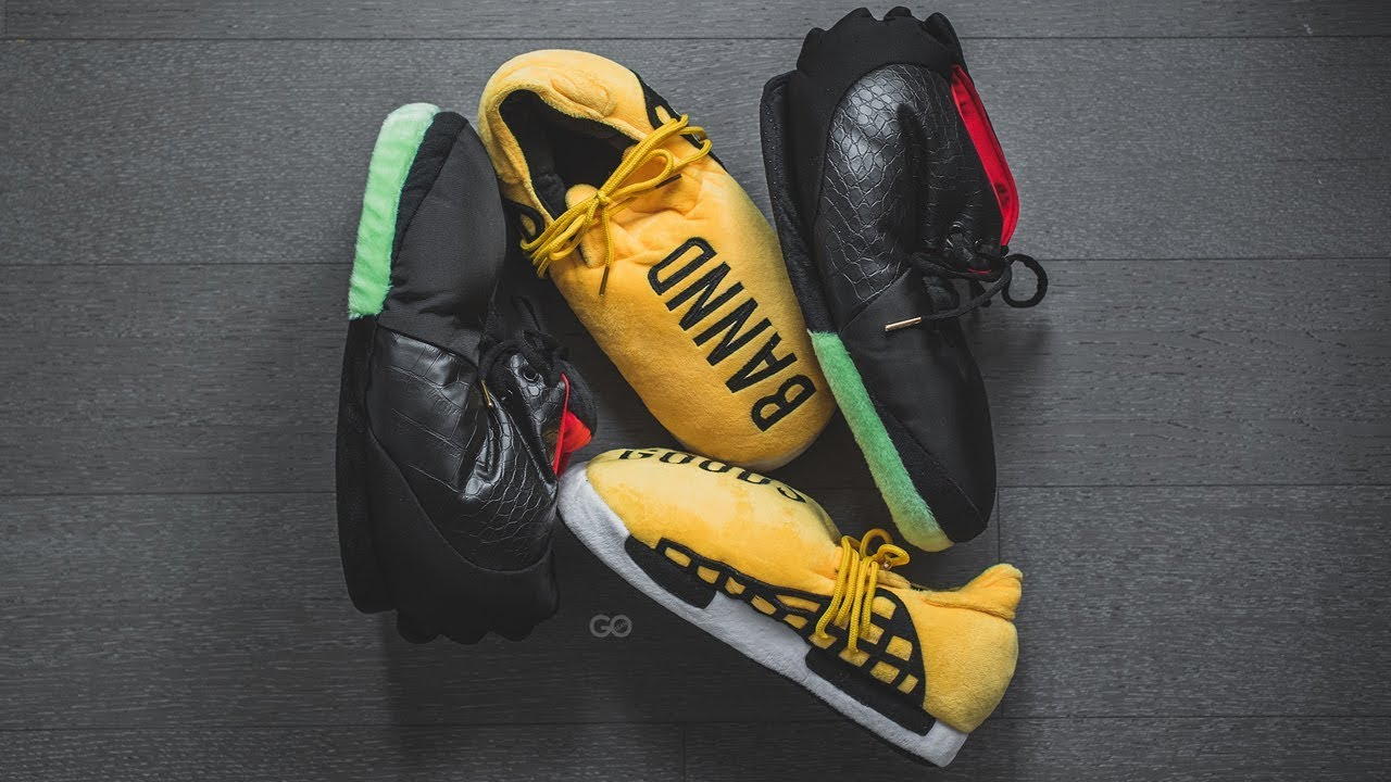 8f5f7df773357 Review   On-Feet  Banned Goods Human Race NMD   Air Yeezy 2 Slippers ...