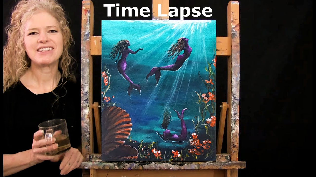 TIME LAPSE - Learn How to Paint MOONLIT MERMAIDS with Acrylic - Fun and Easy Step by Step Tutorial