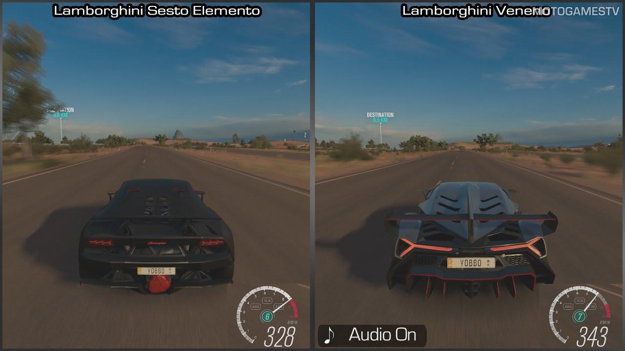 Forza Horizon 3 Lamborghini Sesto Elemento Vs Veneno Top Speed Comparison Youtube