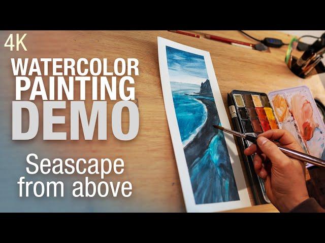 🎨 🌊  Demo Aquarelle   Peindre une plage vue du ciel 4K