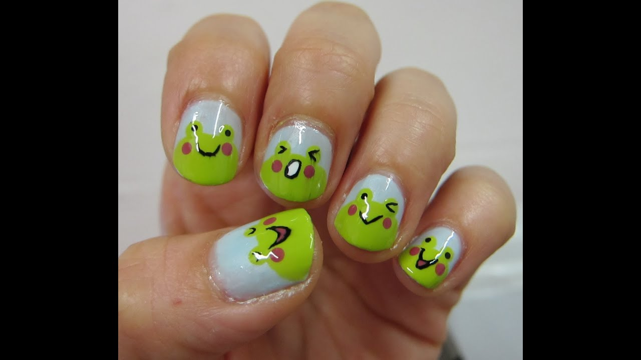 Diseño de uñas #29 ╫ Ranitas Tiernas (estilo Kawaii) ╫ - YouTube