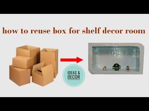 Diy room: how to reuse box for shelf decor room