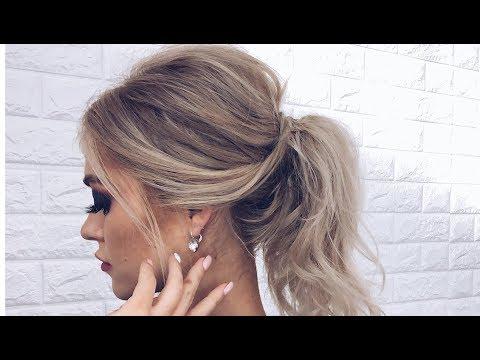 Как сделать небрежный хвост на средние волосы