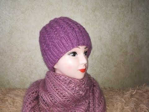 Вязание шапка из толстых ниток спицами