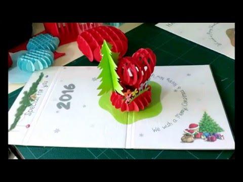 การ์ด 3 มิติสำหรับวันคริสมาสต์  Pop up cards for merry Christmas