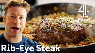 Cooking an UNREAL Rib-Eye Steak in Just 30 MINUTES?! | Jamie's Quick & Easy Food