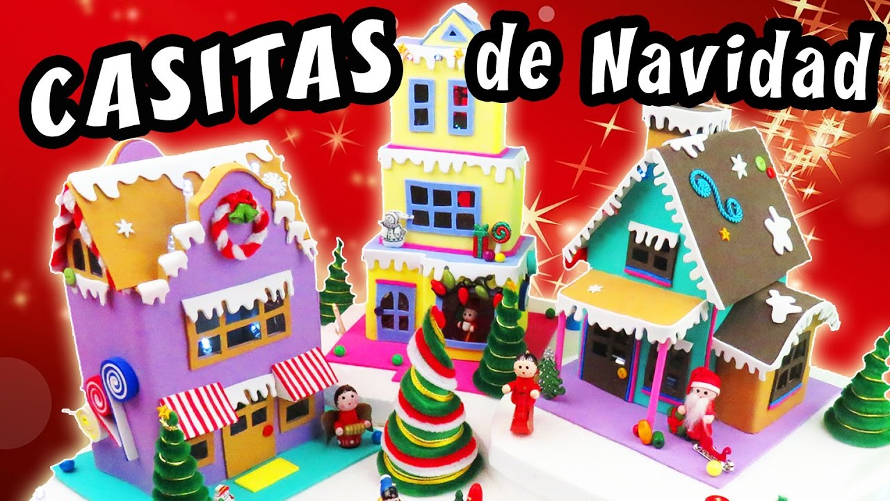 Casitas de navidad con cart n y goma eva foamy - Manualidades para hacer en navidad ...