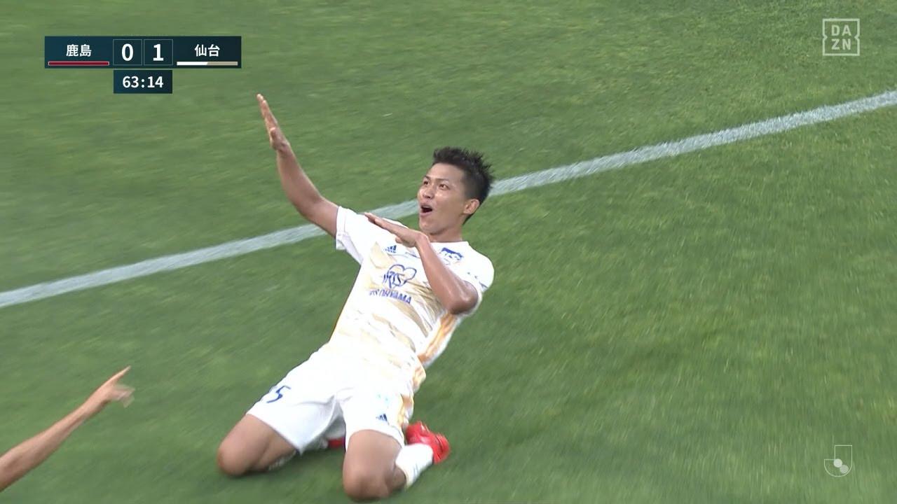 仙台FW西村拓真がGKをかわして無人のゴールに先制弾を流し込む|J1第18節 鹿島v仙台|2021