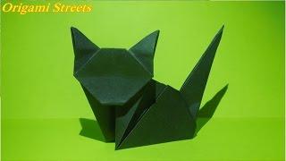 Как сделать кошку из бумаги. Оригами кошка