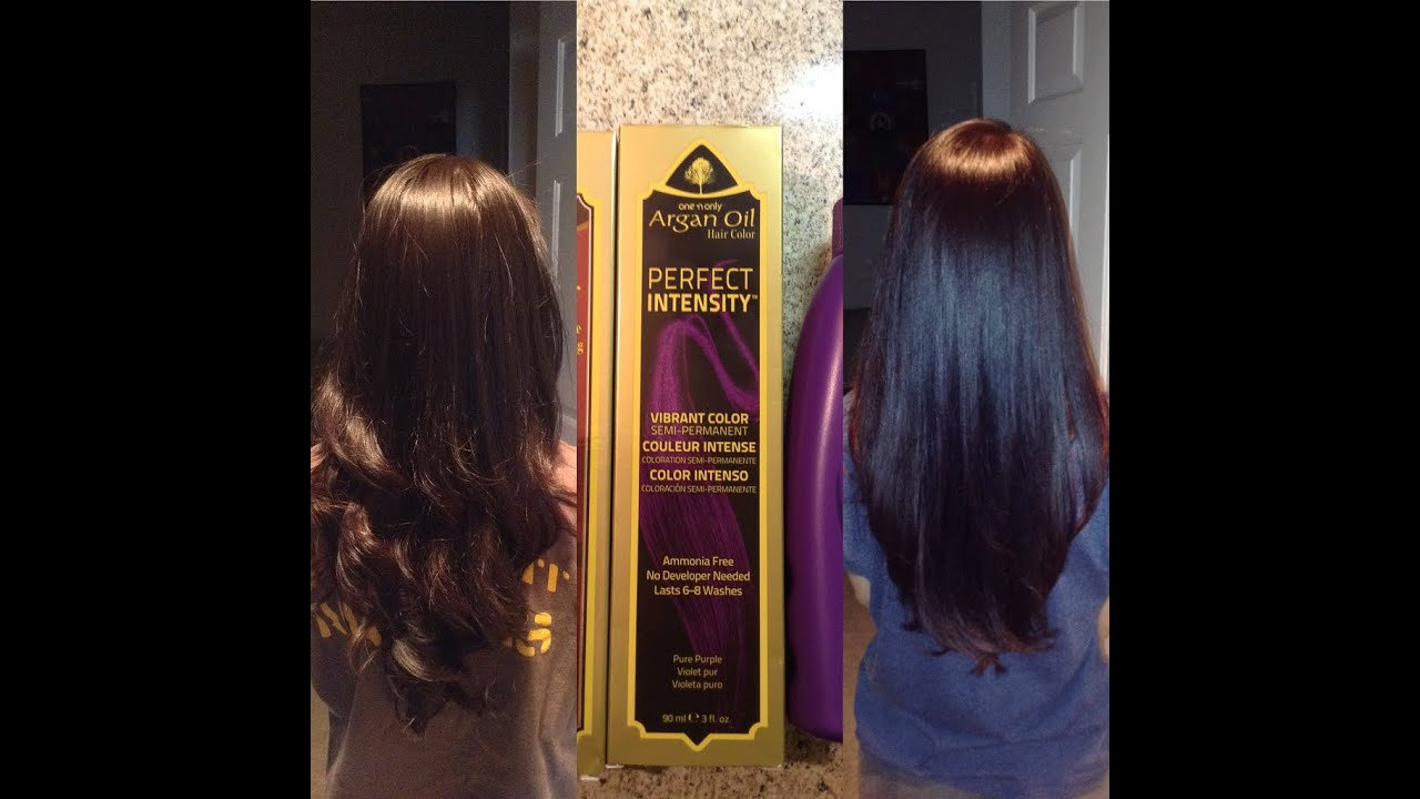 Adding A Purple Hue To Dark Brown Hair With Argan Oil Hair