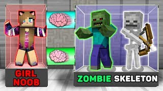 Minecraft GIRL NOOB vs PRO : BRAIN EXCHANGE! GIRL NOOB BECAME a ZOMBIE AND SKELETON in Minecraft!