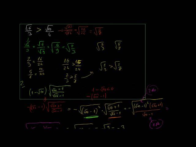 A négyzetgyökvonással kapcsolatos azonosságok alkalmazása (2. rész)
