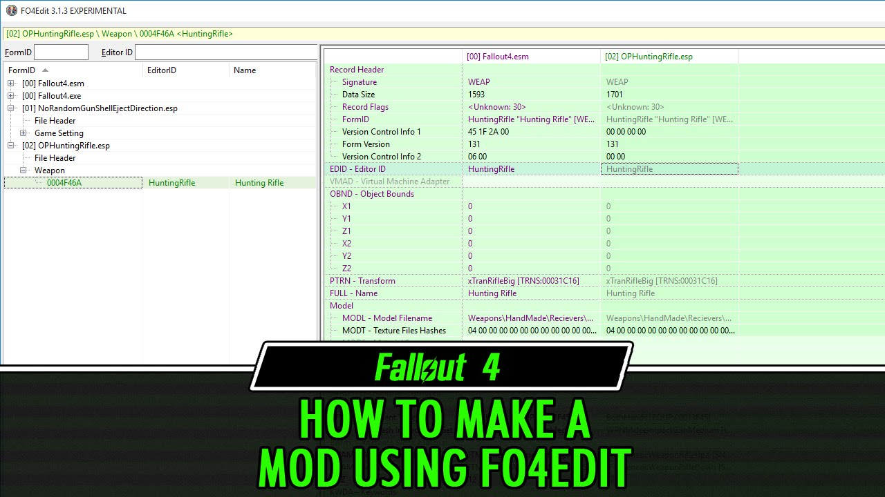Fallout 4 Modding Tutorial How To Make A Mod Using Fo4edit  Fallout 4 Edit  Youtube
