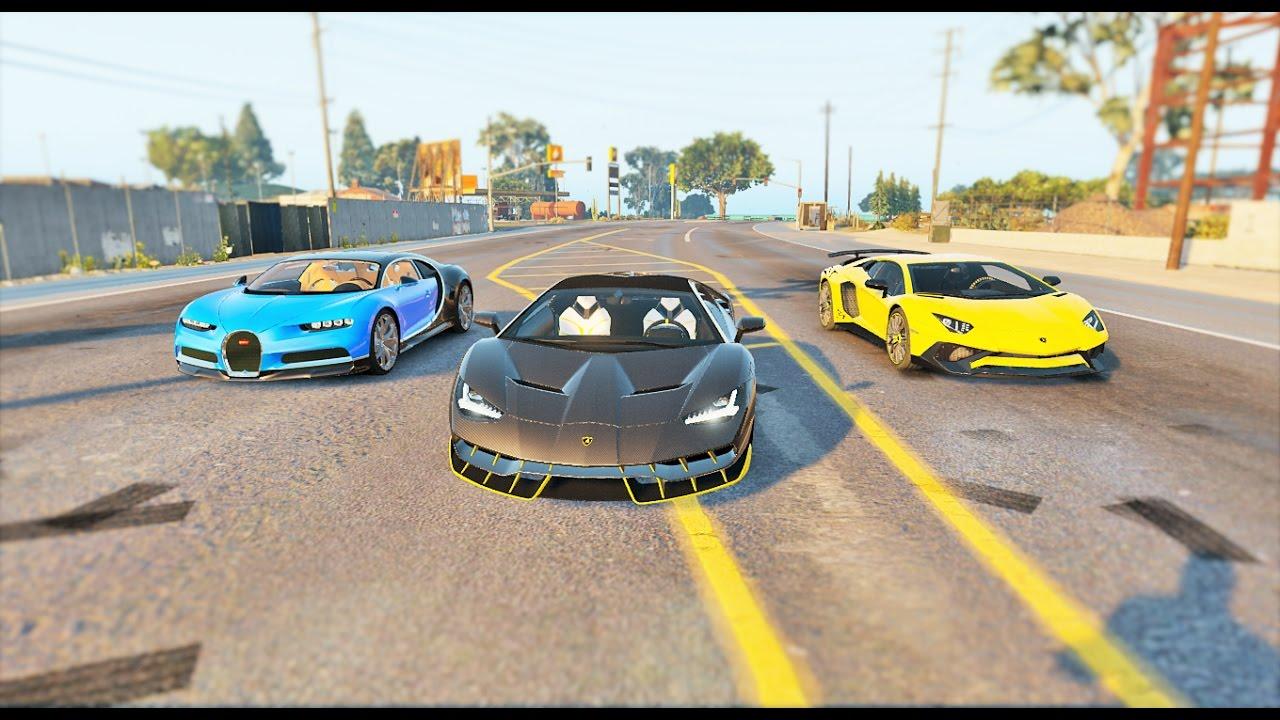 Gta V Mods Lamborghini Centenario Vs Bugatti Chiron Vs Aventador Sv