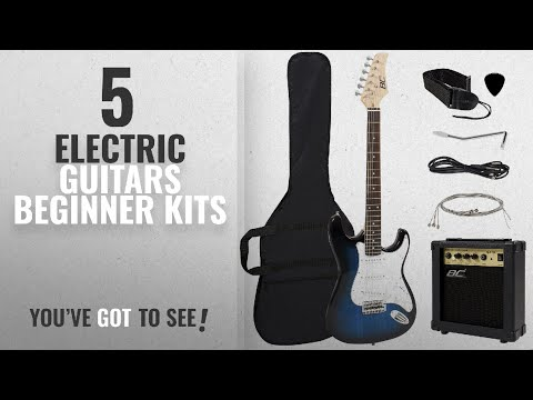 Top 10 Electric Guitars Beginner Kits [2018]: Full Size Blue Electric Guitar with Amp, Case and