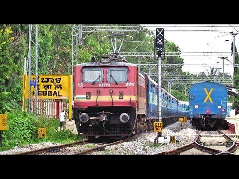 Erode WAP4 Yesvantpur Lucknow Express Skipping Hebbal Station - Indian Railways
