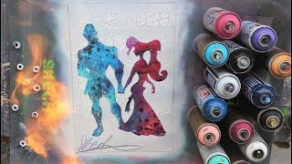 Hercules and Meg  GLOW IN DARK - SPRAY PAINT ART - by Skech