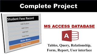 Student Fee Record System in MS Access database || Mini Project ||