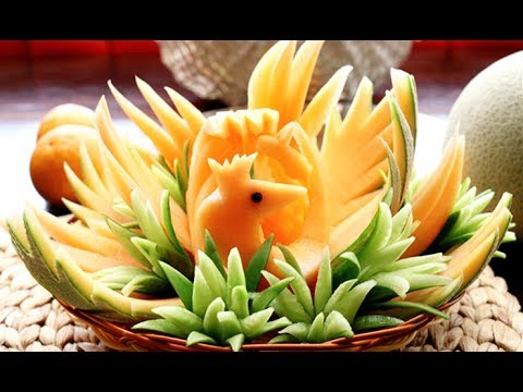 Art In Honeydew Cantaloupe Peacock  | Fruit Carving Garnish  | Party Garnishing