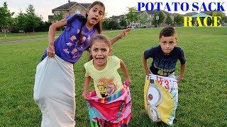 POTATO SACK RACE CHALLENGE! Family Fun Kids Activities