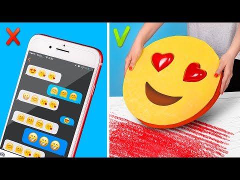9 DIY XXL vs Mini Emoji Schulsachen