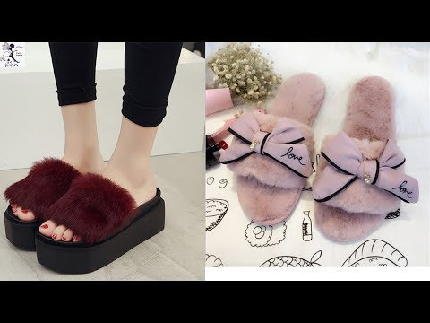Latest fur style shoes for girls    Fur