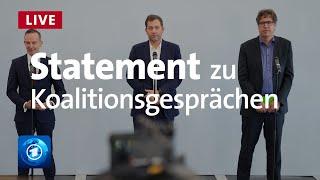 Gemeinsames Statement: SPD, Grüne und FDP vor Start der Koalitionsverhandlungen | Livestream