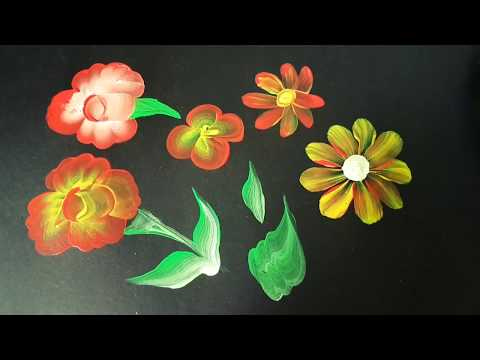 single brush Easy flower painting ideas .one stroke painting techniques.one stroke painting tutorial