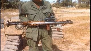 US Army 1st Infantry Division soldiers display captured Vietcong weapons in Lai K...HD Stock Footage