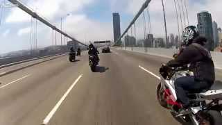 Брукленский мост. Попытка остановить мотоциклистов ментами.